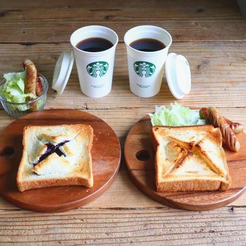 かくれんぼトーストの朝ごはん