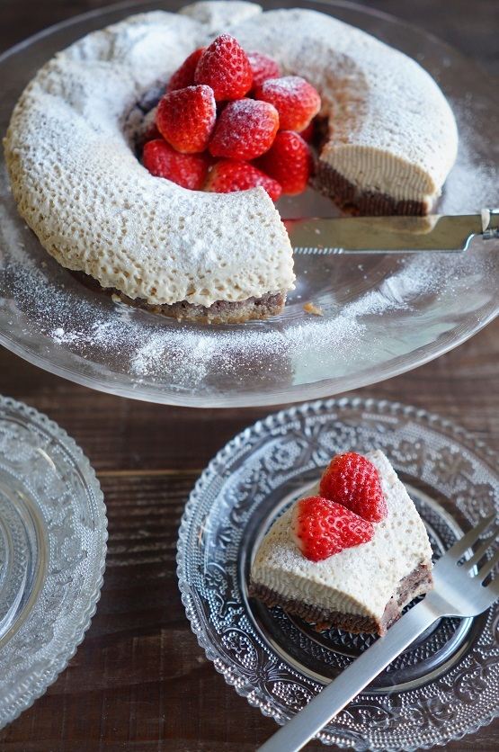 チョコとフランボワーズの2層のプリンケーキ