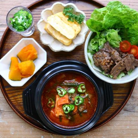 豆腐チゲの朝昼ごはん。