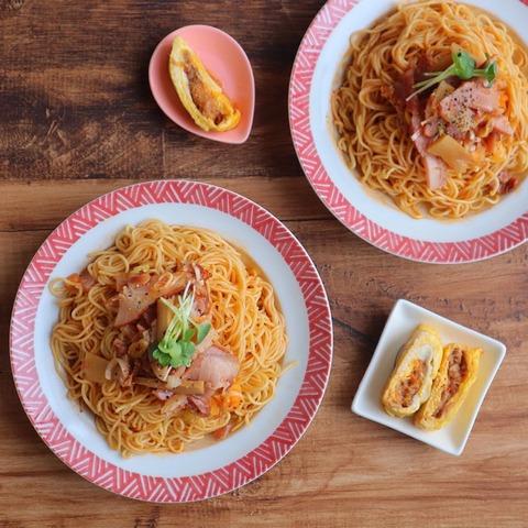 チャーシューメンマのピリ辛和え麺と唐辛子ツナ