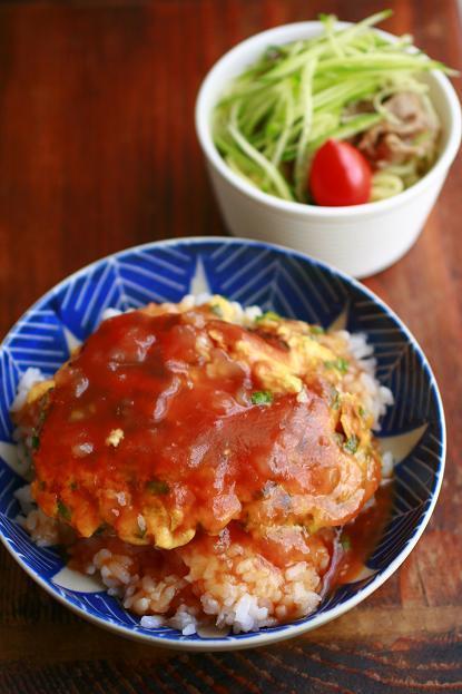 ニラ玉の甘酢あんかけ丼とミニ中華麺