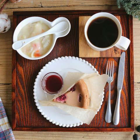 チョコレートチーズケーキで朝ごはん