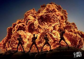 フライドチキンが爆発的な炎に見える広告 お前らが笑ったコピーをぺーinばいくちゃんねる板