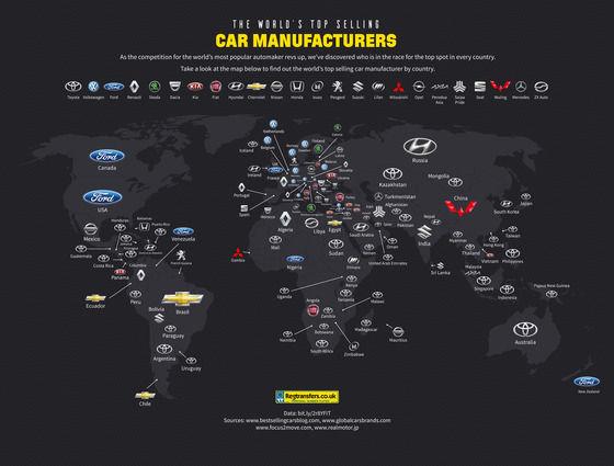 「最も人気のある自動車メーカー」世界地図wwwwww