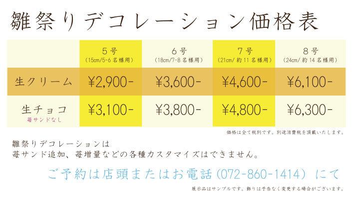 雛祭りデコ値段表