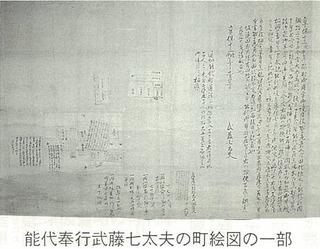 能代奉行武藤七大夫の町絵図の一部