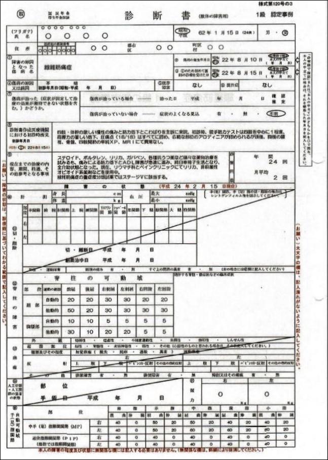 繊維筋痛症認定事例1級(表)-001