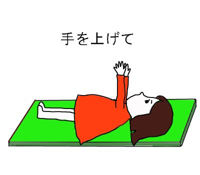 腹筋手を上げる