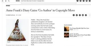アンネ ニューヨークタイムズ 現在