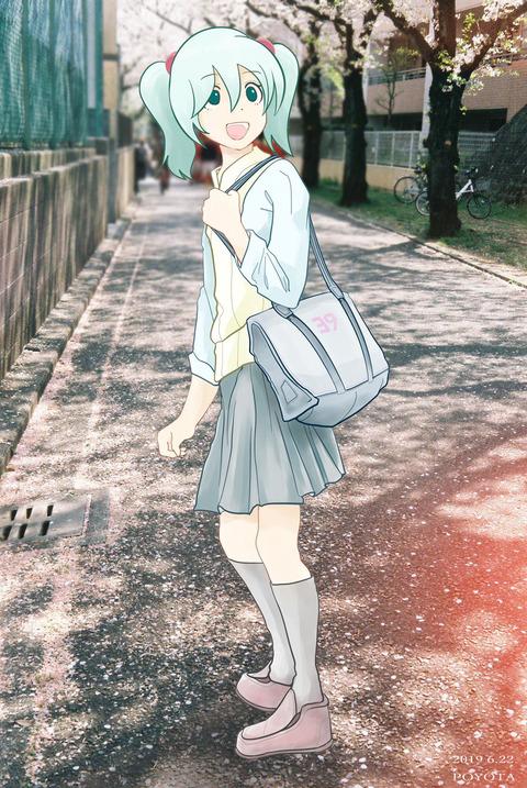 20190622 桜並木で散歩するミク