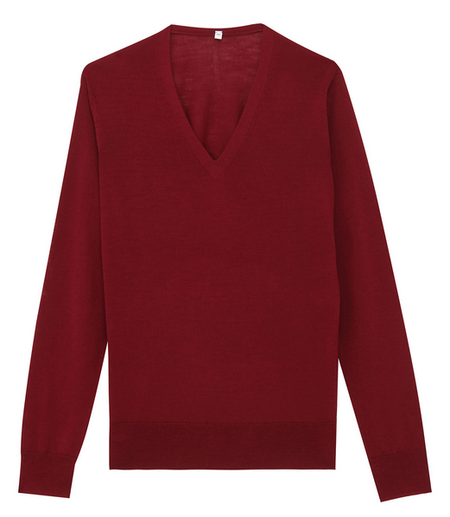 【無印良品】ウールシルク洗えるVネックセーター
