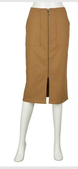 GU ヘリンボーンフロントジップタイトスカート