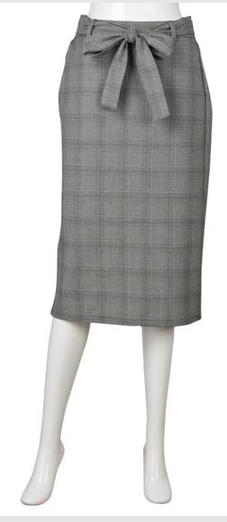 GU ウエストリボンタイトスカート(グレンチェック)