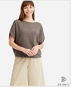3Dコットンコクーンクルーネックセーター(半袖)
