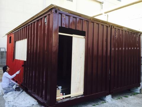 外壁遮熱塗料日本ペイント サーモアイシリコン1回目