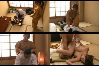 温泉旅館で手配ミスでマッサージ師が来ず自らマッサージする新人仲居がセックスを断れない