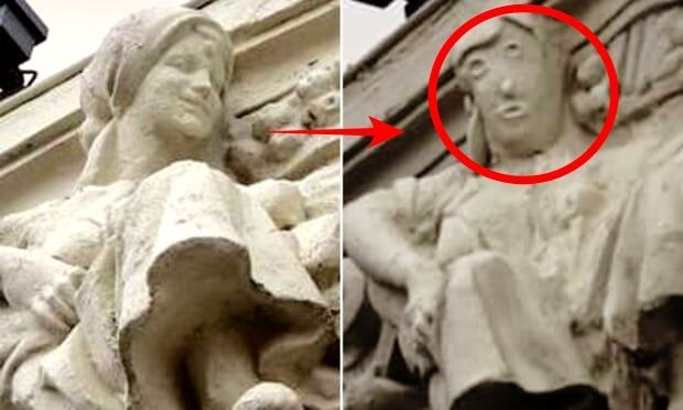 イエスの壁画に続きスペインで文化財復元またも失敗 女性の像がトランプみたいになってしまう