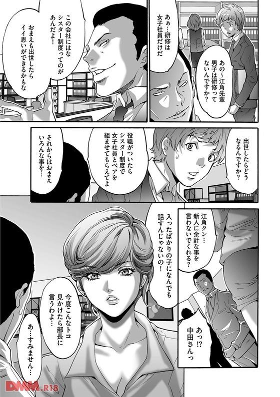 【エロ漫画】 オッサン上司達が新入OL達をセクハラレイプ!! 地下室での研修を申しつけられ不審に思いながらも逆らう事が出来ずに…
