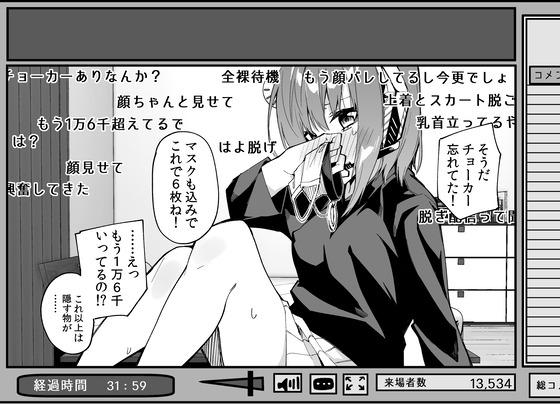 【エロ画像】 2000いいねで服を1枚脱ぐ約束をしてしまった女配信者の末路www