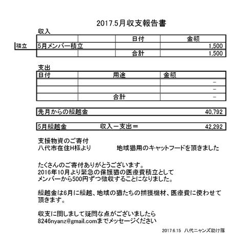 収支報告2017年5月