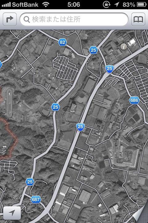 iPhone5(iOS6)マップ 航空写真が白黒で終戦直後の写真みたい