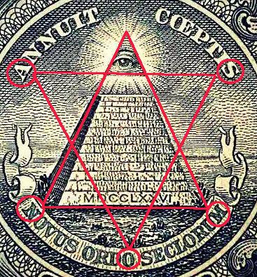 アメリカ1ドル紙幣 六芒星