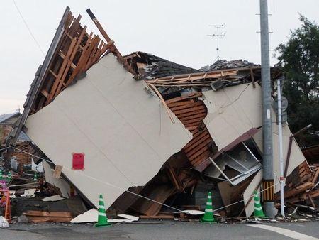 熊本地震により倒壊した家屋