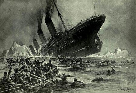 「沈没するタイタニック」