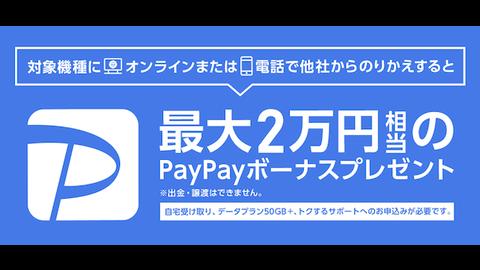 「PayPay2万円相当のボーナス」をSoftbankが開始!ただし、48回払いの強制加入へ?