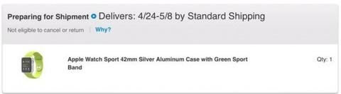 「Apple Watch」がアップルオンラインストアで「出荷準備中」表記に -大多数は発売日から大幅に遅れる模様