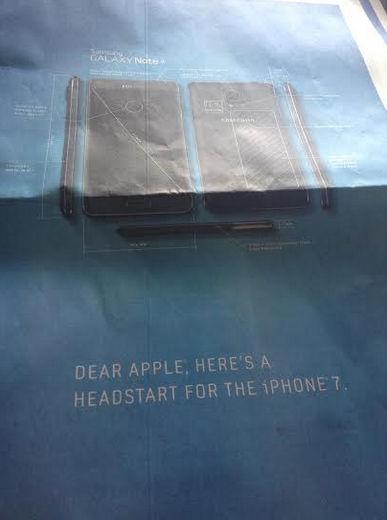 韓国サムスン、「Galaxy Note4」のライバルは「iPhone7」と米アップルに宣戦布告 —皮肉新聞広告