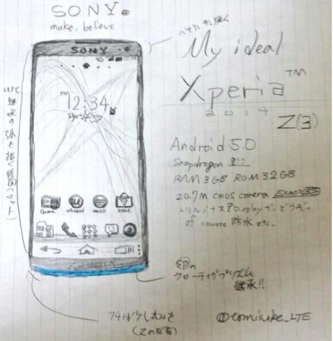 早くも「XperiaZ3」の噂が浮上 —5.4型2K液晶画面・5000万画素カメラ・3GHzオクタコア・4K動画撮影・4GB RAMなど
