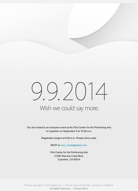 【公式】米アップル、9月9日に「iPhone6」「iWatch」発表イベントを開催 —5.5インチはお預け?