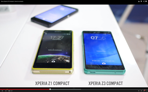 「Xperia Z3 Compact」とZ1 f (Compact)を動画で比較!デザインが大幅に改善されている