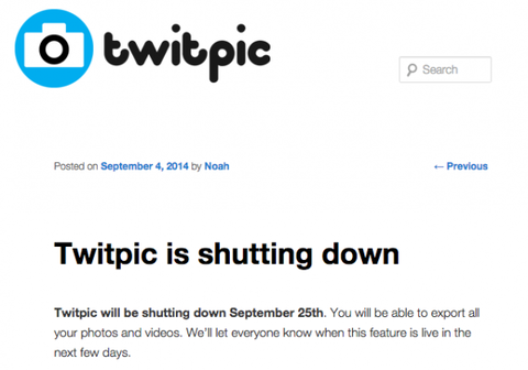 ツイッター動画像共有サービス「Twitpic」、ツイッター本社からの圧力でサービス停止を発表