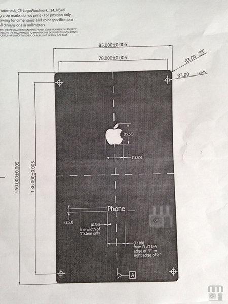 「iPhone6」の背面デザインの指示書が流出、角張ってワイドな印象
