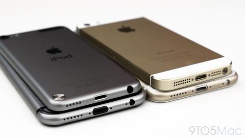 「iPhone6」のゴールドとスペースグレイモデルのモックアップが登場 —5s・iPod touchと比較