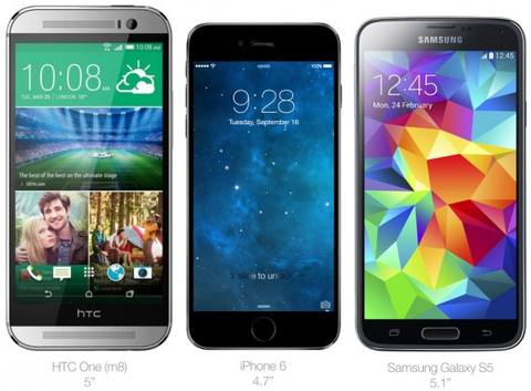 「iPhone6」とHTC M8・Galaxy 5との比較画像が登場 —厚さ6mmとのリーク情報も