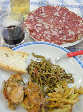 Coniglio in Umido e Verdure Cotte Vino Bio Salame fatto in Casa