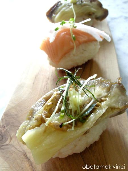 melanzana grigliata e salmone crudo