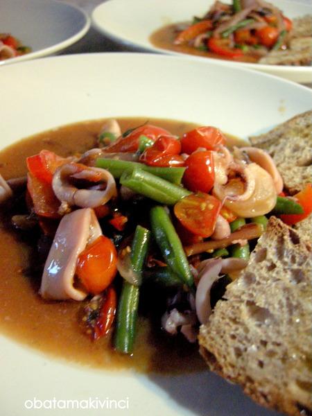 soup con calamaretti e verdura da estate