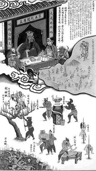 地獄の法廷を描いた中国の仏画