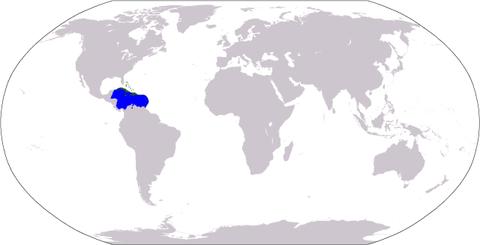 カリブ海(青)とカリブ諸島(緑)