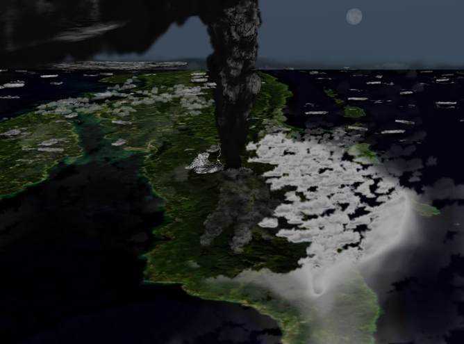上空から見たトバ火山噴火時の想像図