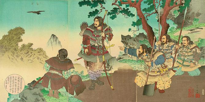 八咫烏に導かれる神武天皇(安達吟光画)