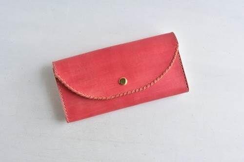 A-革の手染め財布「カントリーレッド No.49(長財布)」