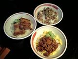 ひづき 角煮丼小、そぼろチャーシュー丼小、ネギ豚めし小