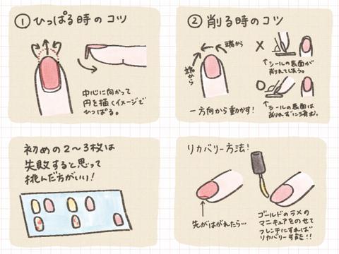 自宅でできるネイルシールを使ってみた!貼り方・削り方のコツとリカバリー方法。