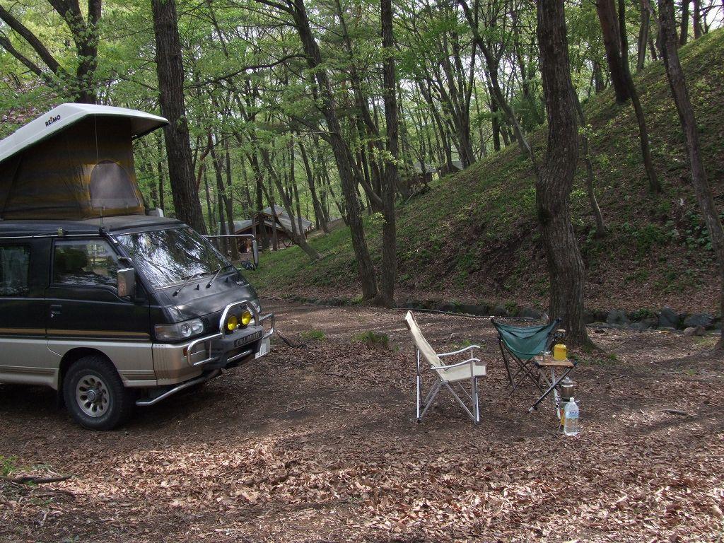 愛車旧デリカとみどりの村キャンプ場サイト(2007.5.13)