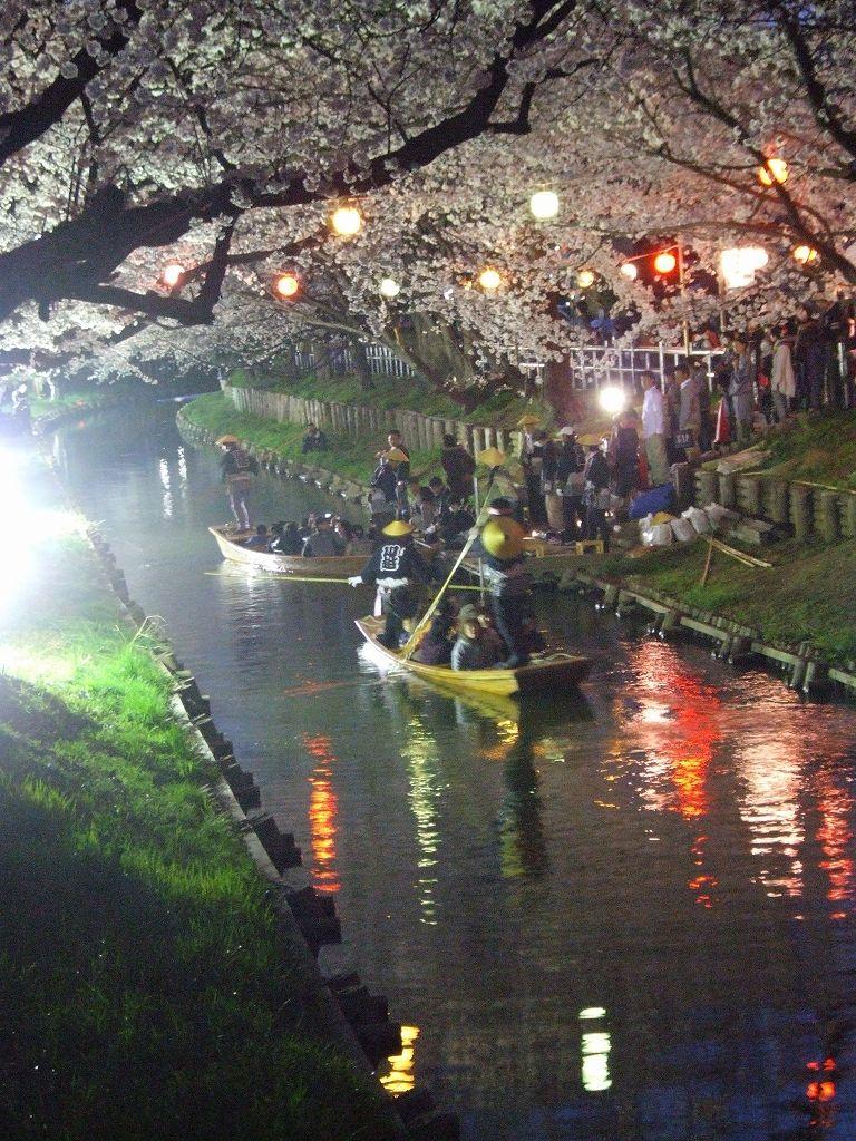 川越・春の新河岸川の舟遊び(2012)